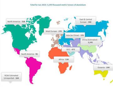 افزایش تولید آلومینیوم اولیه جهان در ماه ژوئن